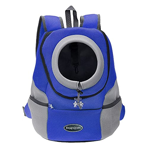 papipet Pet Dog Carrier Backpacks, Puppy Dog Hike Travel Front Pack with Breathable Head Out Backpack Carriers for Small Medium Dogs Cats Rabbits (L, Blue)