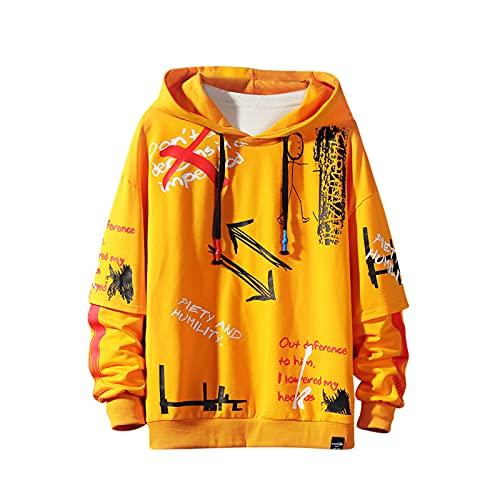Sudadera con capucha para hombre con estampado de grafiti, moderna, informal y de estilo hip hop, diseño divertido - amarillo - Small