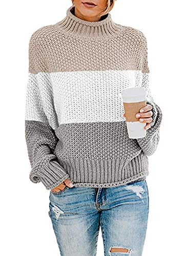 ZKESS Womens Casual Patchwork Pullover Sweaters Turtleneck Long Batwing Sleeve Color Block Pullover Loose Chunky Knit Jumper Multicolor S 4 6