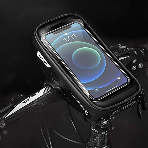 UIHOL Fahrrad Rahmentasche Wasserdicht, Empfindlicher TPU Touchschirm Farhrradlenkertasche, Oberrohrtasche Handytasche Geeignet für iPhone Plus/X/XR/11/12, Samsung Huawei bis zu 7.0 Zoll Smartphone