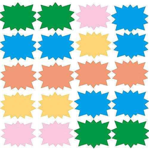 100 Piezas Néon Fluorescent Étoiles, 8 cm x 11 cm Assortis Néon Cartes Flashs Affichage Prix Étiquettes Lebel Shop, 5 Colores Brillantes