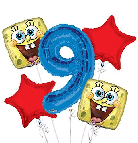 Sponge Bob Happy Face Balloon Bouquet 9th Birthday 5 pcs - Party Supplies
