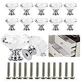 Xinlie Pomos de Cristal Cajón de Diamante Tirador de Puerta de Armario Tiradores de Cristal Perillas de Muebles de Diamante Artificial de para Cocina, Gabinete de Baño, Armario y Armario (12PCS)