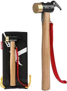 WEINAS ペグハンマー 黄銅製ヘッド 普通のスチール製ヘッドより硬度が高い テントハンマー ハンマー ペグ打ち/抜く 安全 テント アウトドア 登山 キャンプ 野外フェス 工事 多用 収納袋付 持ち運び易い 180日保証