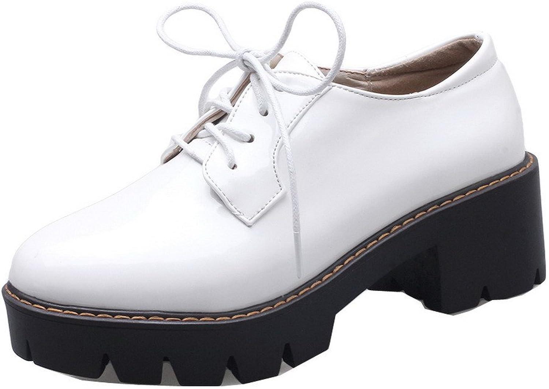 AllhqFashion Women's Patent Leather Lace-up Kitten-Heels Pumps-shoes