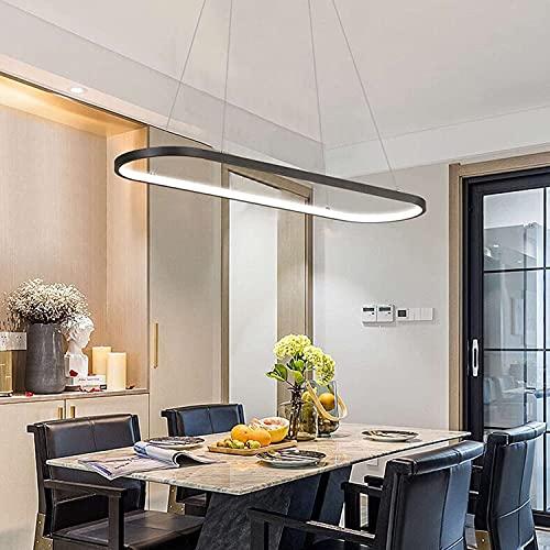 LAIDEPA Lampara Colgante LED Regulable con Mando a Distancia Temperatura de Color 3000-6000K | Función de Memoria Moderna | Lámpara de Techo para Cocina Comedor Oficina,Negro,35.43in/90CM