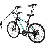 Bike Hoist Pulley for Garage, Ceiling Mounted Bicycle Lift Heavy Duty Mountain Bike Hanging Rack - Black