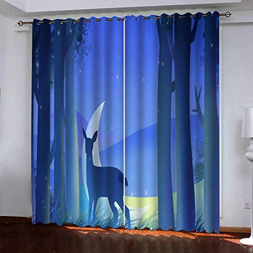 MMHJS Cortinas con Estampado De Ciervos 3D Cortinas De Tela Impermeables De Poliéster Cortinas Opacas para Dormitorio Balcón Hotel Sala De Estar (2 Piezas)