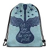 Drawstring Tote Bag Gym Bags Storage Backpack, Let The Music Be Your Pilot Quote Winged Electronic Guitar and Stars Retro Print,Very Strong Premium Quality Gym Bag for Adults & Children