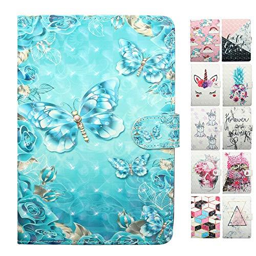 Coeyes Tablet-PC Hülle kompatibel für Samsung Galaxy Tab S2 9.7 Zoll T810N T815N T813N T819N Tasche Leder Flip Case Etui Schutzhülle Cover mit Kartenfach - Blauer Schmetterling Muster