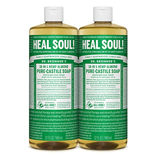 Dr. Bronner's Pure-Castile Liquid Soap - Almond 32oz. (32 Fl Oz (Pack of 2))