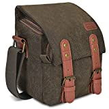 CADEN Canvas Camera Bag, Vintage Compact DSLR/SLR Digital Camera Messenger Shoulder Case Bag, Vintage Travel Photo Bag for Mirrorless 1 Canon Nikon Sony Olympus 1 len (Coffee)