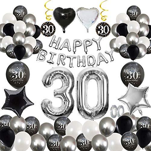 MMTX 30 Geburtstag Dekoration, Geburtstag Party Luftballon Deko mit Happy Birthday Luftballon,Druck Latex Luftballons Sterne Herz Folienballons für Schwarz Silber Junge Männer Mädchen Frauen (30)
