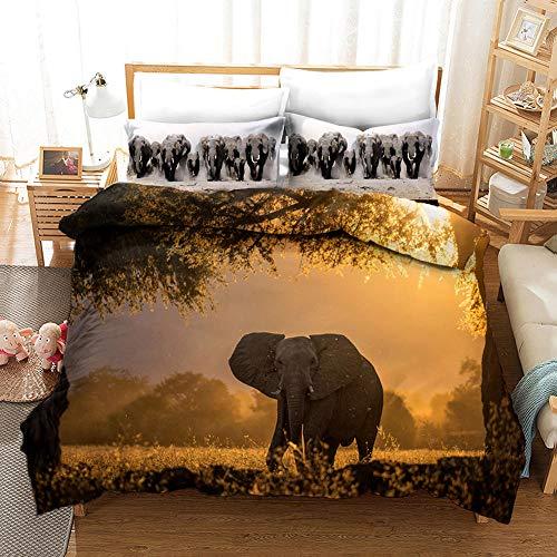 AHKGGM Duvet Cover Set Single Sunset animal elephant Bedding Set 3 Piece Ultra Soft Printed Quilt Cover Set - 1 Duvet Cover & 2 Pillow Case Microfiber With zipper Comforter Cover Set