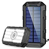 FKANT Power Bank Solar 26800mAh Batería Externa Solar con 4 Puertos 3 Salidas USB & QI Carga Inalámbrico Cargador Solar 28 Linterna LED y Gancho Bateria Moviles IPX4 para iPhone Android iPad