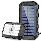 Powerbank Solare 26800mAh Caricabatterie Portatile Wireless Qi Batteria Esterna Solare con 4 Porte di Uscita(3USB+Qi) e Torcia a 28 LED, 2 Modalità di Ricarica(Solare+USB) per Campeggio Android iOS