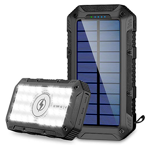 FKANT Power Bank Solar 26800mAh Batería Externa Solar con 4 Puertos 3 Salidas USB & QI Carga Inalámbrico Cargador Solar 28 Linterna LED y Gancho Bateria Moviles IPX4 para iPhone Android iPad