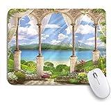 VAMIX マウスパッド 個性的 おしゃれ 柔軟 かわいい ゴム製裏面 ゲーミングマウスパッド PC ノートパソコン オフィス用 デスクマット 滑り止め 耐久性が良い おもしろいパターン (イタリアの古い石造りのアーチビュー海のバルコニーフレスコ庭園植物)