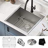 Kraus KHT301-22L Standart PRO Dual Mount Drop-In 16 Gauge Stainless Steel Single Bowl Laundry Utility Sink, 22 Inch, Tight Radius