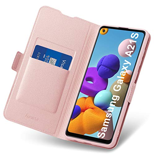 Aunote Hülle Samsung Galaxy A21S, Samsung A21S Hülle, Handyhülle Samsung A21S Klapphülle, Schutzhülle Samsung A21S, Samsung A21S Tasche/Handytasche, Leder Etui Folio, Flip Phone Cover Case. Rosegold