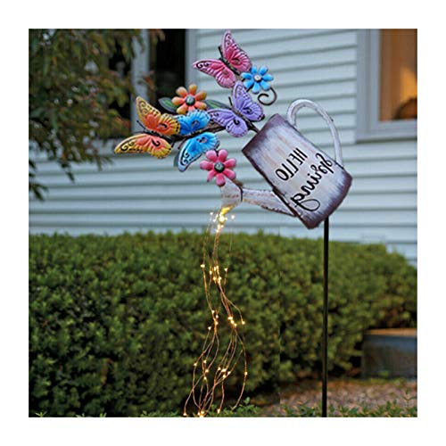Solar Watering Star Shower Garden Art Light Decoration, Led String Lights Watering Can Shape Can Fairy Light for Garden Ladybugs/Butterflies Help Watering the Plants Outdoor Ornamental Plants Decor