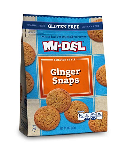 Mi-Del Gluten-Free Ginger Snaps Cookies, 8 Oz. Bags, Pack Of 8 (79202), Gf Ginger, 64 Oz