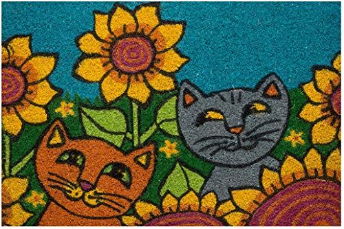 Felpudo de exterior de coco con base de PVC pintado a mano, diseño de gatos con girasol, 60 x 40 x 2 cm. Fácil de limpiar y ultrarresistente
