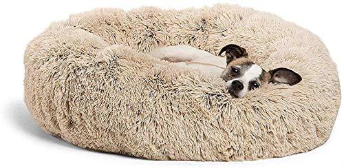 Lumon Haustier Beruhigend Bett, Premium Plüsch Orthopädisch Haustier Bedshag Plüsch Donut Enge Umarmung Hundebett Katzen Bett, Warm Plüsch Rund Nest Hund Welpe Matte für Haustier Hund Katze - 70cm