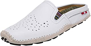 Lailailaily Summer Hollow Men's Breathable Half Drag Peas Shoes Soft Non-Slip Casual Shoes