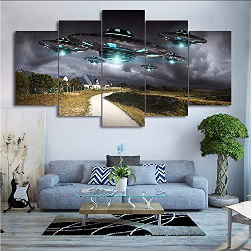 xzfddn Modulare HD Gedruckt Leinwand Abstrakte Poster 5 Stücke Fliegen UFO Gemälde Wandkunstausgangsdekor Wohnzimmer Sky Bilder