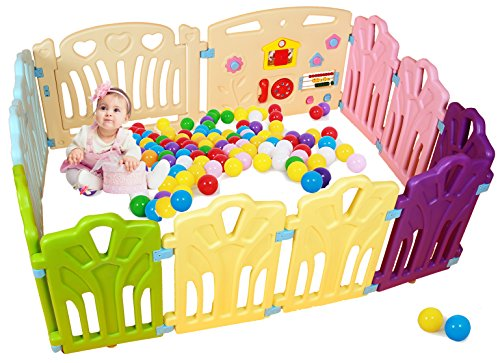 Baby Playpen Kids Activity Centre Safety Play Yard Home Indoor Outdoor New Pen (Multicolour, Classic Set 12 Panel)