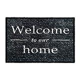 GadHome Welcome Felpudo de Puerta para Interior o Exterior 50x75cm, Gris | Welcome to Our Home Alfombra Antideslizante, Absorbente, Tapete de Puerta
