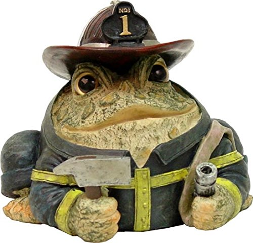 """Homestyles Toad Hollow #94048 Figurine Fireman in Fire Chief Helmet and Uniformwith Axe & Water Hose Resue Character Garden Statue Small 5.5"""" h Toad Figure Natural Brown"""