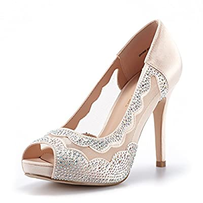 DREAM PAIRS Women's Divine-01 Champagne High Heel Pump Shoes - 10 M US