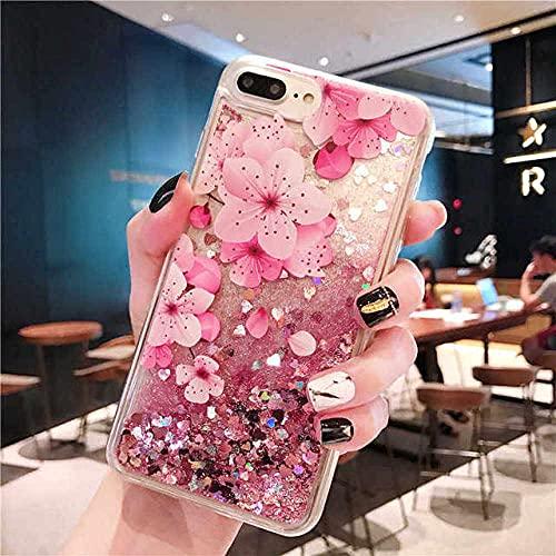 DEIOKL Quicksand Dynamic Liquid Phone Case para Samsung Galaxy S10 S9 S8 S6 S7 Edge Plus 5G S10E Note Funda, Flores, para S10 5G