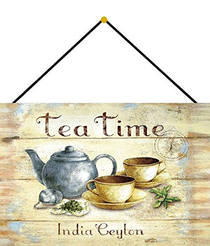 Metalen bord 20x30cm gebogen met koord Tea Time India Ceylon thee decoratie geschenk bord Vintage Tin Sign
