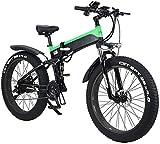 RDJM Bici electrica Plegable Bicicleta eléctrica for los Adultos, 26' Bicicleta eléctrica/conmuta E-Bici con Motor de 500 W, 21 Velocidad de Transmisión Engranajes, Tienda for Portable fácil en Cara