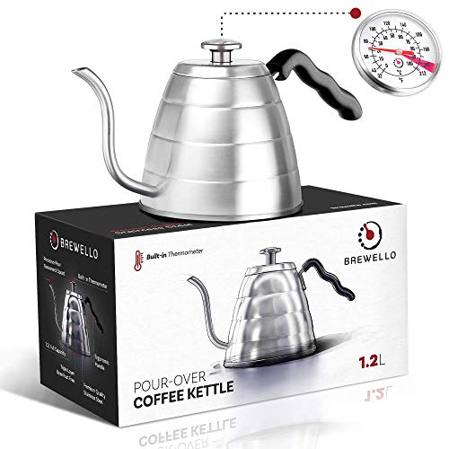 Brewello Gooseneck Kettle - Pour-Over Coffee Kettle with Built-In Thermometer and Triple-Layer Base (40-Ounce/1.2Liter) Stainless Steel Kettle for Baristas and Home Coffee Brewing Enthusiasts