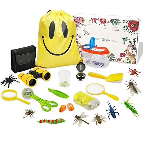 MIMIEYES Outdoor Exploration Kit for Kids - 25 Pack Kids Adventurer Gift Set with Binoculars, Magnifying Glass, Compass, Flashlight, Whistle,Drawstring Bag,Butterfly Net,Bug Collector,Shovel