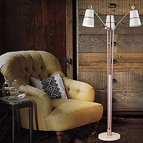 QIDOFAN Lámpara de pie De pie luminarias nórdica creativo posmoderna simple verticales de hierro de pie luminarias for la sala de estudio de bulbo dormitorio Incluye, blanca (Color : White)
