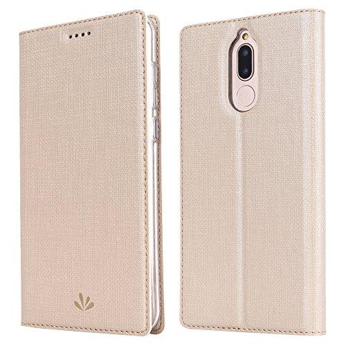 Feitenn Huawei Mate 10 lite Hülle, dünne Premium PU Leder Flip Handy Schutzhülle | TPU-Stoßstange, Magnetverschluss, Kartenschlitz, Kameraschutz- & Standfunktion Brieftasche Etui (Gold)
