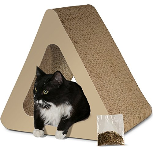Paws & Pals 3-Sided Vertical Cat Scratcher Post - Different Cardboard Scratching Triangle Angles with Catnip - Beige