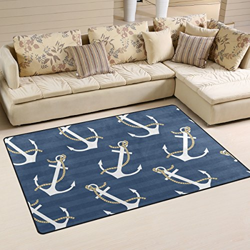 Sunlome Navy Blue Nautical Anchor Stripe Area Rug Rugs Non-Slip Indoor Outdoor Floor Mat Doormats for Home Decor 60 x 39 inches