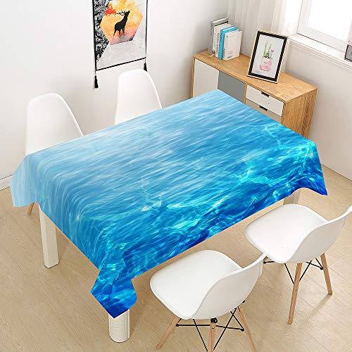 Manteles Mesa 3D Impresión de Agua Mantel, Morbuy Rectangular Impermeable Antimanchas Lavable Poliéster Manteles para Cocina o Salón Comedor Decoración del Hogar (Agua de Lago,140x200cm)