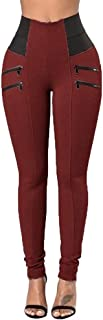 JOFOW Womens Skinny Pants Solid Color Block Patchwork High Waist Zipper Long Trousers