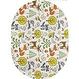 Animals Oval Area Rug Carpet,Woodland Forest Animals Trees Birds Owls Fox Bunny Deer Raccoon Mushroom Print Home Collection Modern Area Rug,5'x 8'Oval,for Children Bedroom Home Decor Nursery Rug