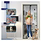 "Magnetic Screen Door with Heavy Duty Mesh Curtain, Tight Self Closing Magnetic Seal, Heavy Duty, Hands Free, Pet and Kid Friendly, Full Frame Hook & Loop, Fits All Size up to (83"" x 39"")"