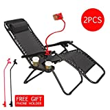 Set of 2 Zero Gravity Outdoor Lounge Chairs w/Cup Holder with Mobile Device Slot Adjustable Folding Patio Reclining Chairs W/Snack Tray + Phone Holder