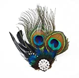 yueton Peacock Feather Hair Clip Pin Bridal Wedding Dance Party Hair Accessory