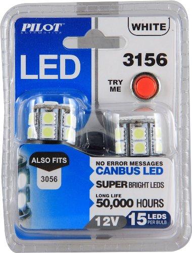 Pilot Automotive (IL-3156W-15-AM) White 15-SMD LED Stop/Tail Light Bulb - 2 Piece